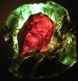 Overlaid tourmaline crystals demonstrating the Usambara effect.